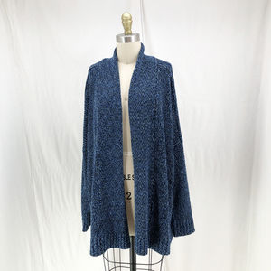 SOFT JOIE Blue Open Front Marled Cardigan Sweater